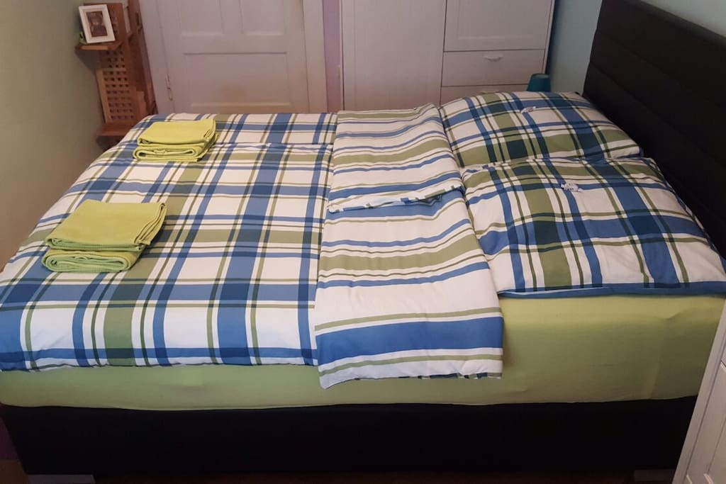 """""""Your"""" kingsize bed with new comfortable boxspring mattresses"""