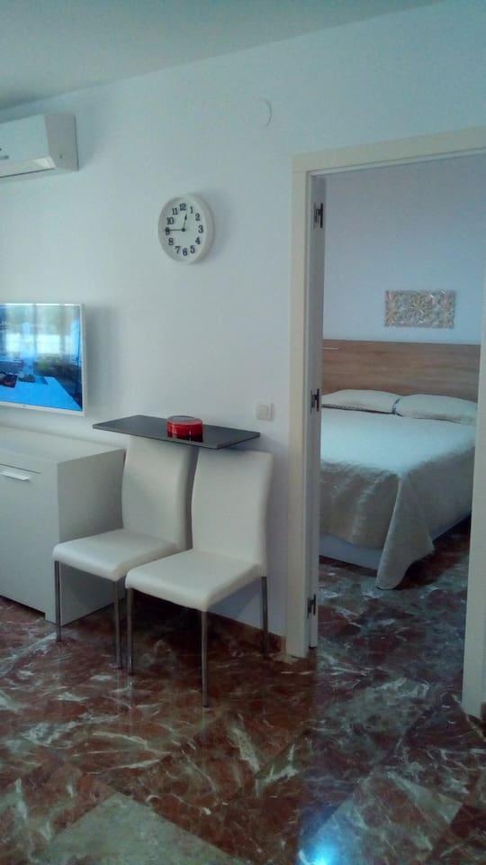 salón comedor- sala de estar y dormitorio con baño integrado en el mismo