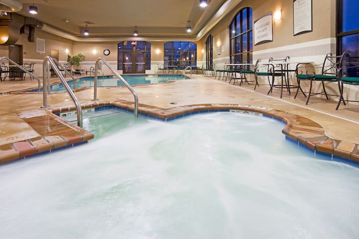 Indoor Pool + Hot Tub + 24 Hour Business Center | Suite Close to the Airport!