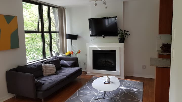 Central Yaletown studio w/ den private apartment
