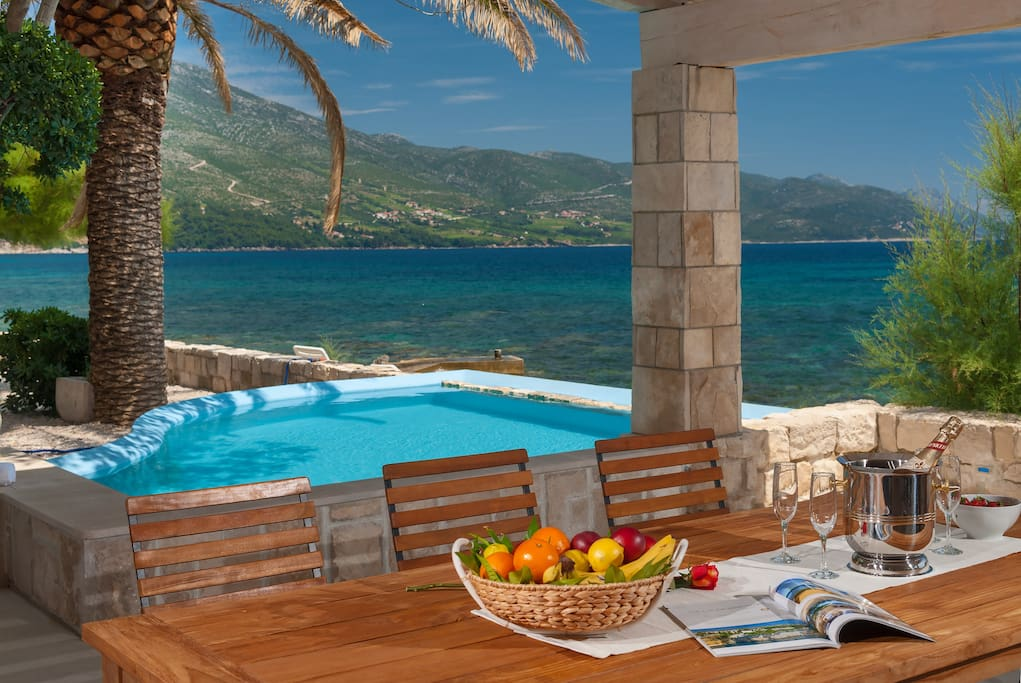 Luxury Villa Gracia Grande with pool by the pebble and sandy beach ideal for luxury-elite and family vacation-Luxury seaside villa with pool-Orebic-Peljesac-Dalmatia-Croatia