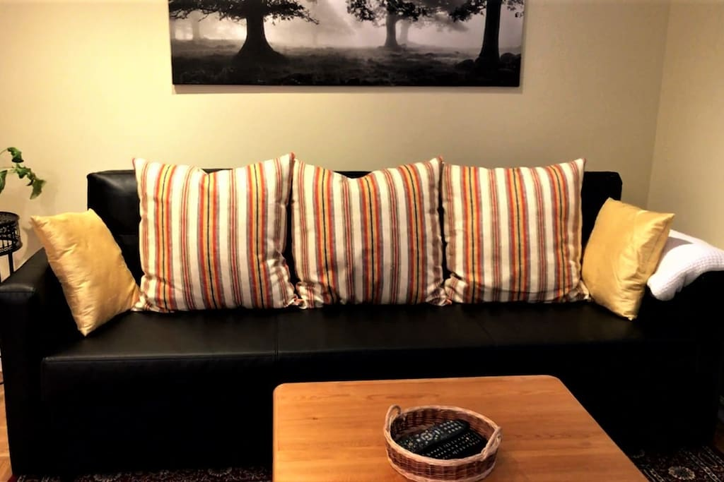 The couch pulls out to create another queen size bed.