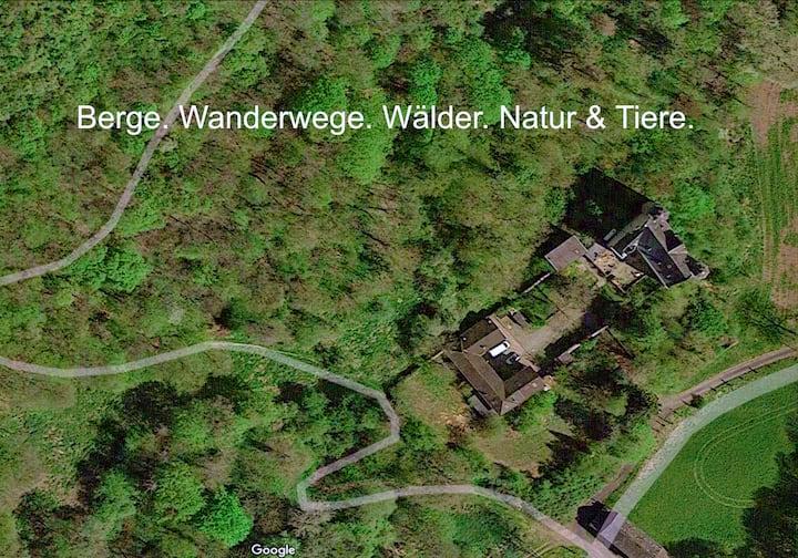 Privates Schloss. Berge. Rhein. Natur & Wanderwege