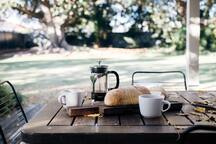 Breakfast overlooking the backyard