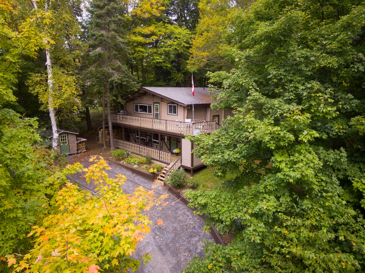 Arial view of the chalet. Watch the video tour http://www.propertygallery.ca/265-woodland-drive.html