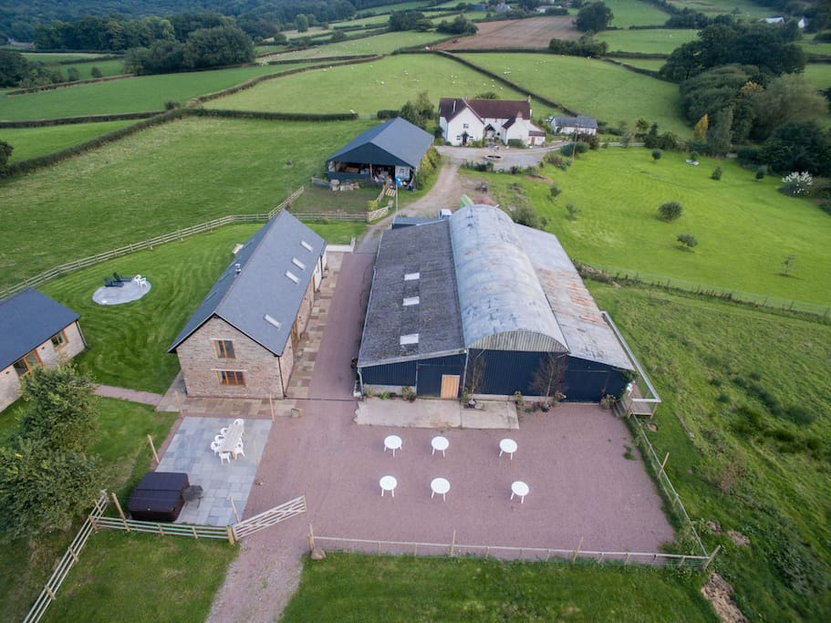 Seen in the background, It is all part of the Maesbrook complex and normally only available as additional bed space for 4-6, or as a bridal suite for weddings.