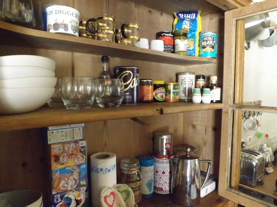 Help yourself from the kitchen cupboard.