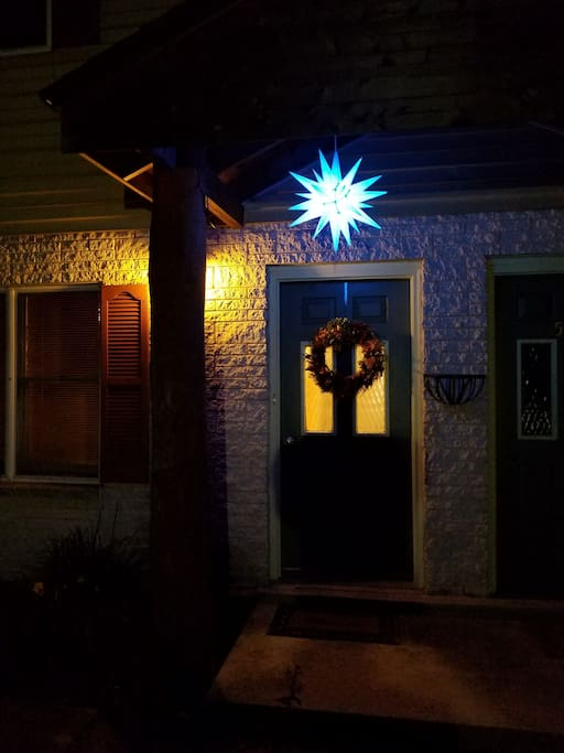 The front door at night