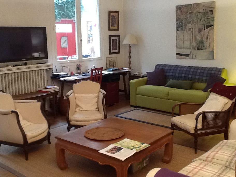 Grande pièce à vivre, canapé-lit facile à ouvrir