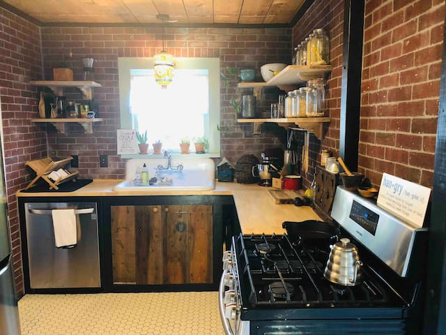 Kitchen is shared with owners but available for guests to use as needed. Fridge and pantry space is provided, as are all cookware, dish ware and utensils.