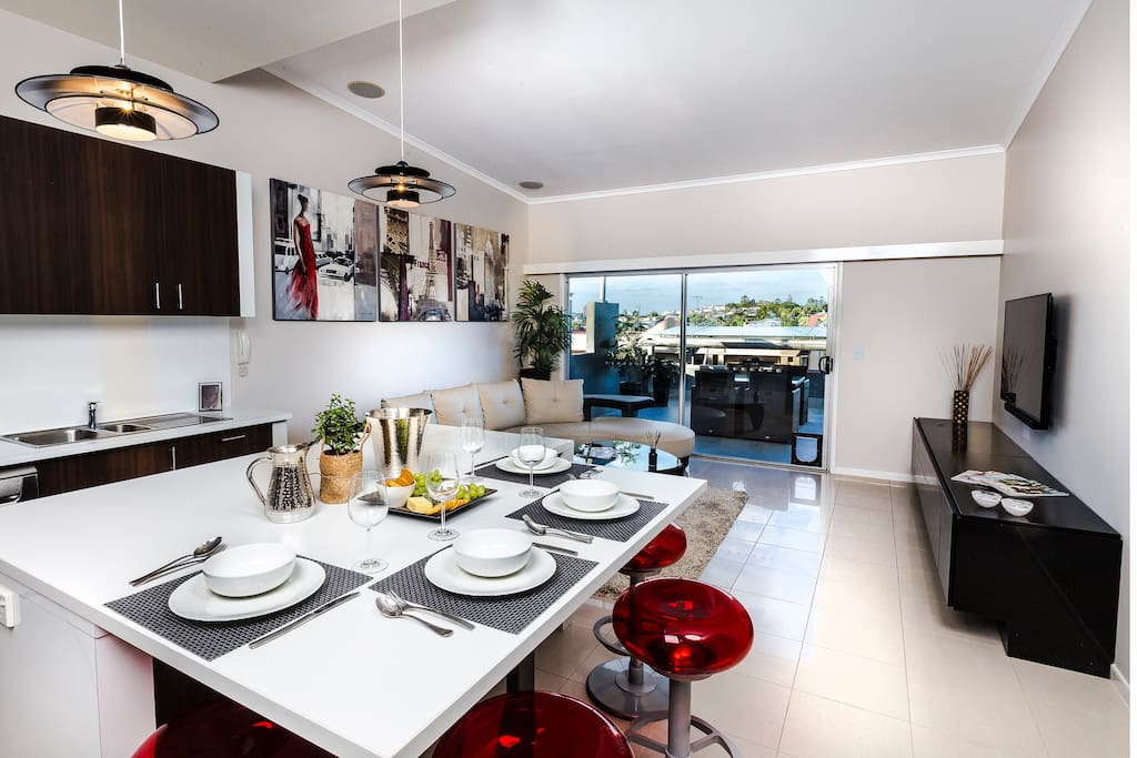 Open Plan kitchen, dining, lounge to terrace