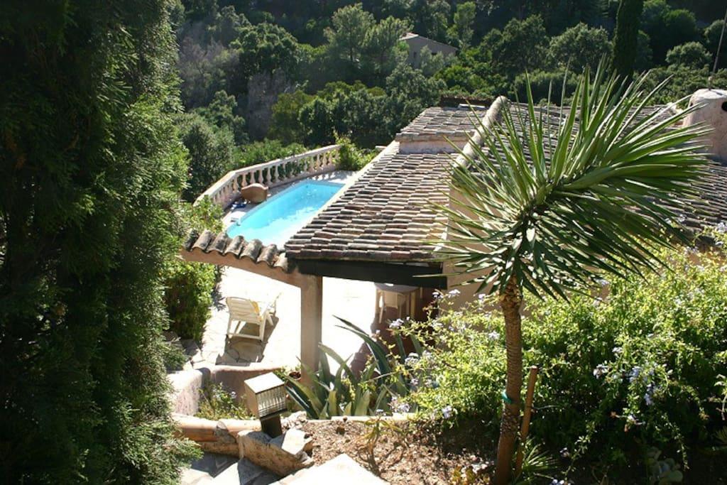 Villa située au pied de la forêt avec vue sur mer, dans un calme olympien
