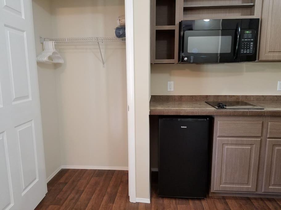 Refrigerator, Microwave + Closet