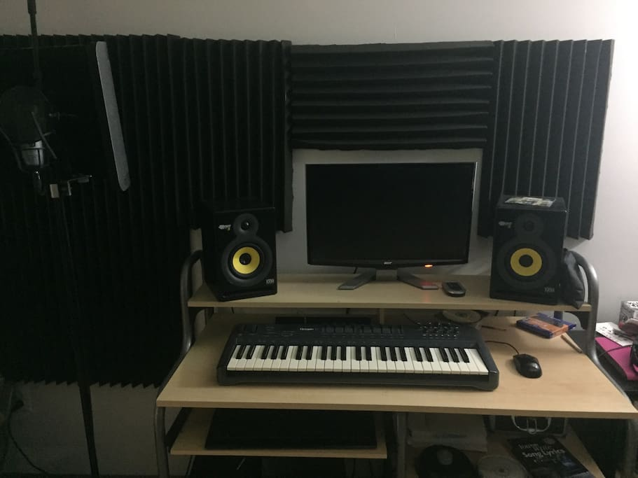 Recording Studio (Available for guests; $20 per/hr or unlimited access for $50 per day) Studio One SW, Mbox Mini Audio Interface, AKG Mic, Rockit Monitors, & Oxygen Midi.