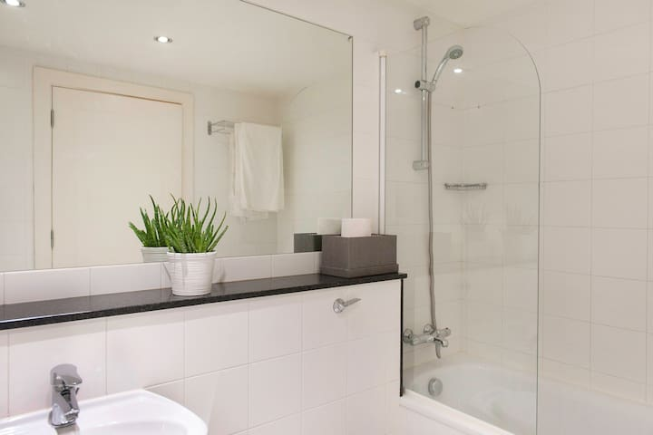 Modern bathroom with shower and toilet facilities