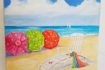 "Art in Flamingo Royale. ""Another Beach Day"" Artist Suzanne Peck."