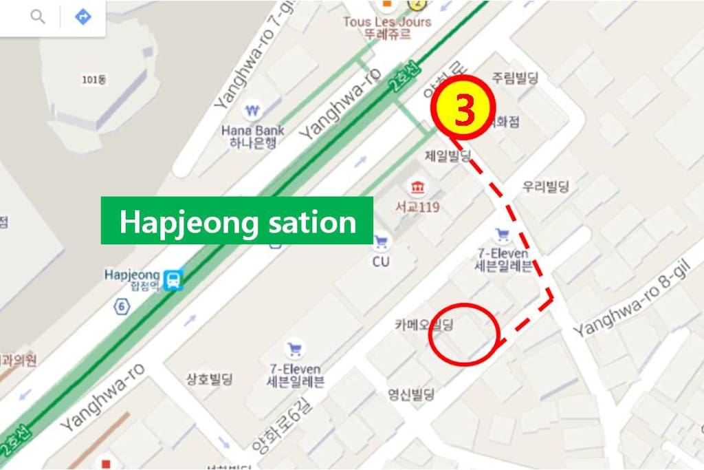 Center of Hapjeong and Hondae area