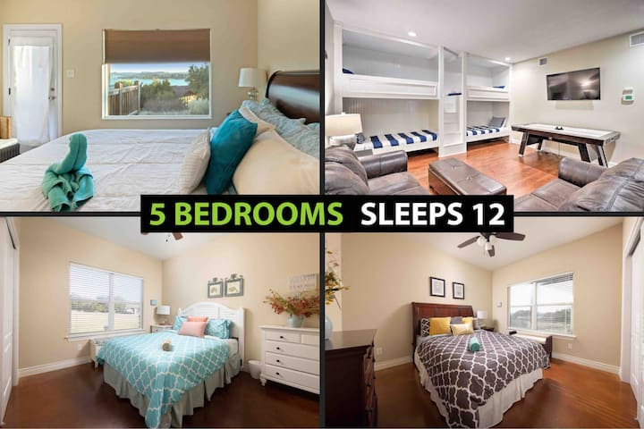 4 light filled bedrooms (King, Queen, Queen, Full) + ★★An amazing room with 4 bunk beds built into the wall that your kids will love!....the air hockey table is a nice touch as well★★
