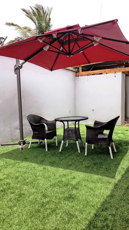 Guests can have their own personal space at the back. Some shade and Turf for a nice relaxation or intended Yoga session. (Note the area is very very safe and quiet for those choosing to have some peace of mind).