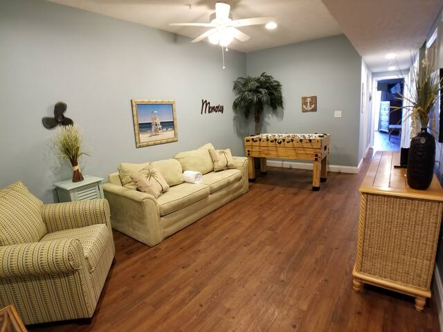 Rec Room with Foosball table, large flatscreen TV and queen sleeper sofa - 2nd level