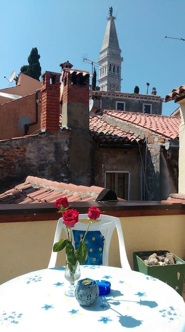 Terrace on top of the house where you can watch pitoresque rooftops of old houses in the old town and tower of St Euphemia church,enjoying your time specially in the evenings