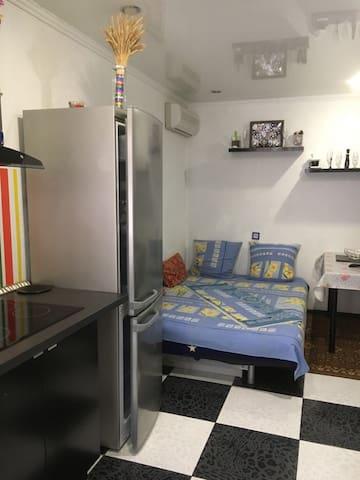 На 1 этаже находится кухня-гостиная,тут кондиционер,кухонный гарнитур,плита,микроволновая печь,электро-чайник,вся необходимая посуда для приготовления пищи,холодильник,обеденный (рабочий) стол,телевизор с плоским экраном,диван-кровать,полка для обуви,сан узел