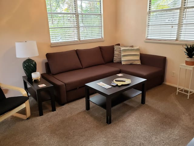 Comfy apt close to downtown free parking king bed