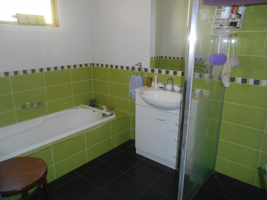 compact, colourful, modern bathroom