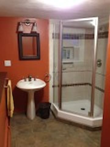 Private bath with new shower with handmade custom tiles