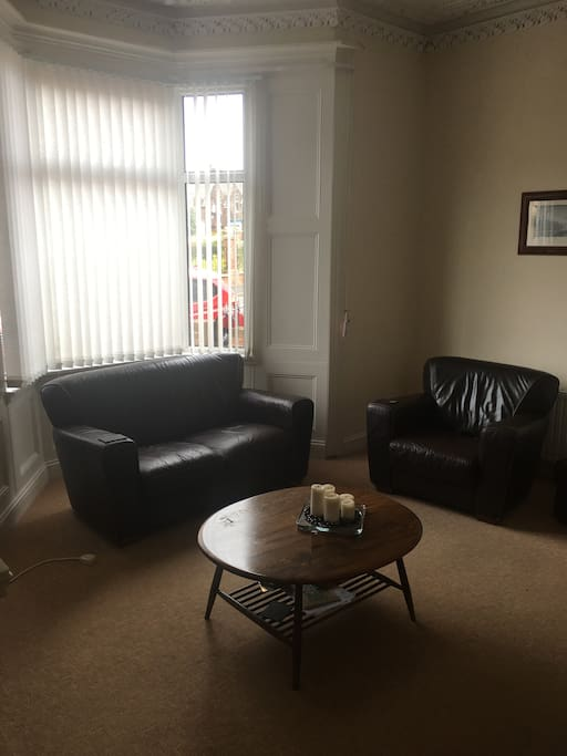 Living room. 3 seater, 2 seater and 1 seater chairs. Virgin TV including Sky Sports and BT sports. 100Mbps WiFi.