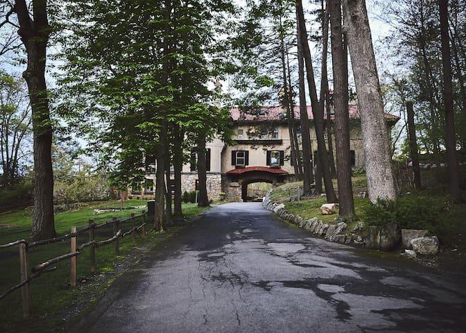 A castle like villa on a private lake