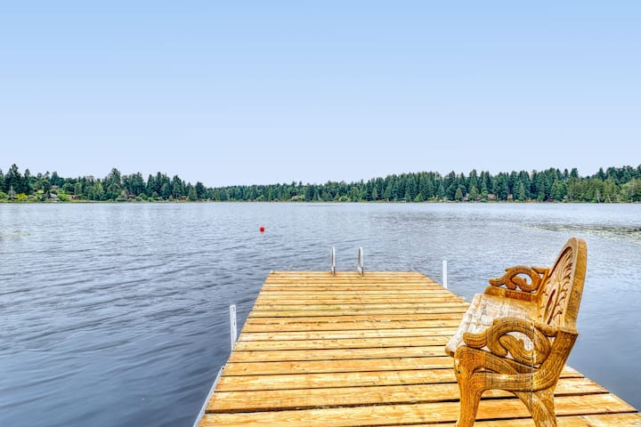 New listing! Lakefront, dog-friendly home w/ private beach, hot tub & firepit!
