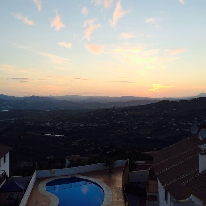 The view of the valley at sunset