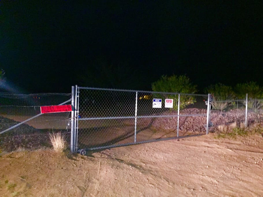 Front Gate, Property is fenced, 5 Acres.