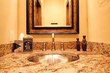 Downstairs powder room half bath.