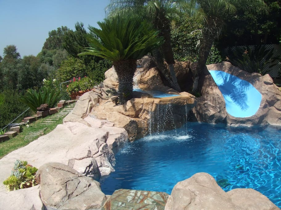 Your own private water fall with a water slide.