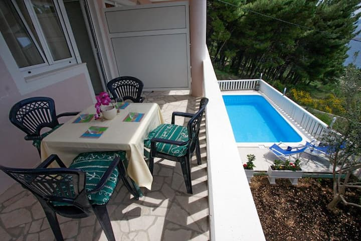Two Bedroom Apartment, seaside in Mimice, Outdoor pool, Terrace