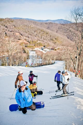 Skiing at Cataloochee Ski Resort 5 miles from cabin.