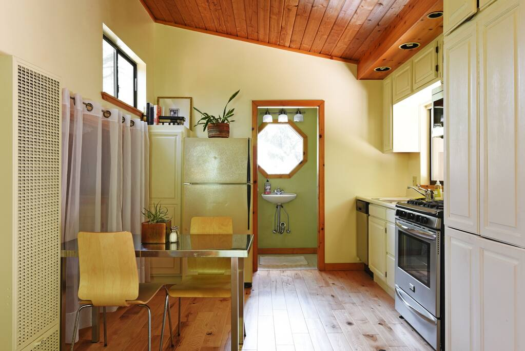 Kitchen looking into the bathroom