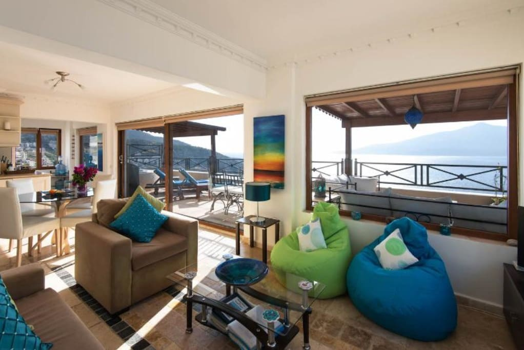 Lounge area with views and access onto terrace