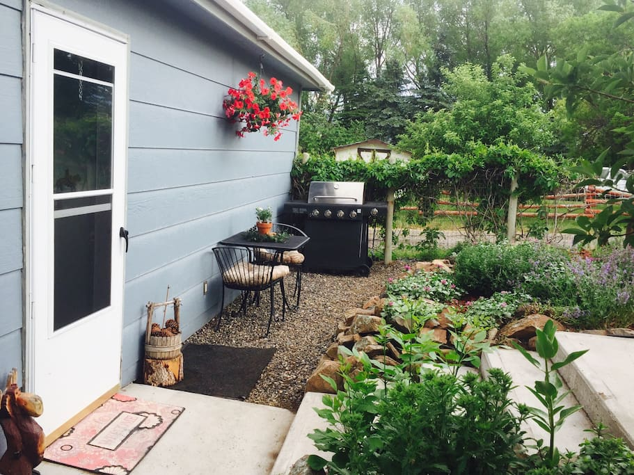 Back entrance/BBQ & patio area