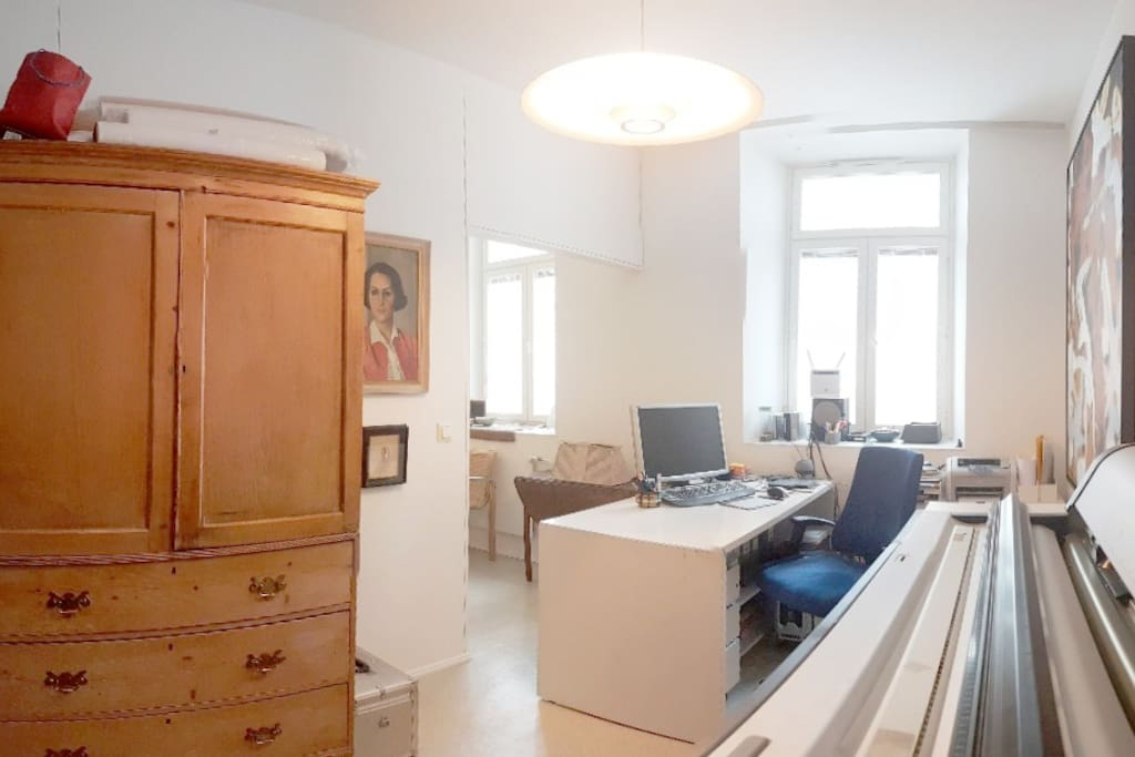 Study with Epson 7900 Large Format Printer, clothes cupboard, desk and wifi