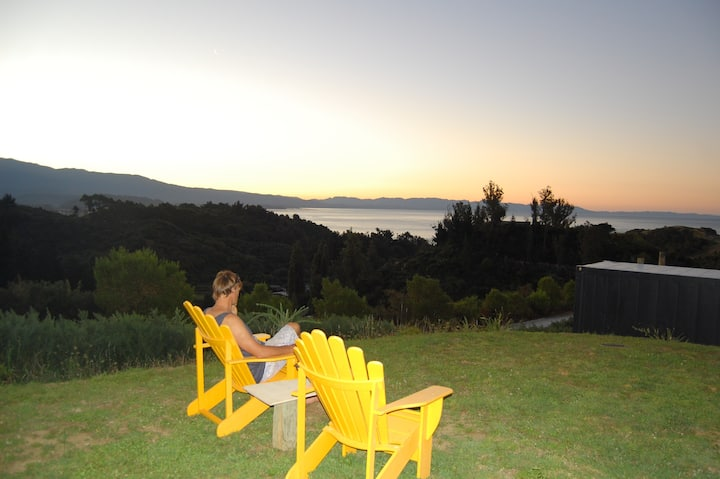 Golden Bay eco-home private, stunning sea views
