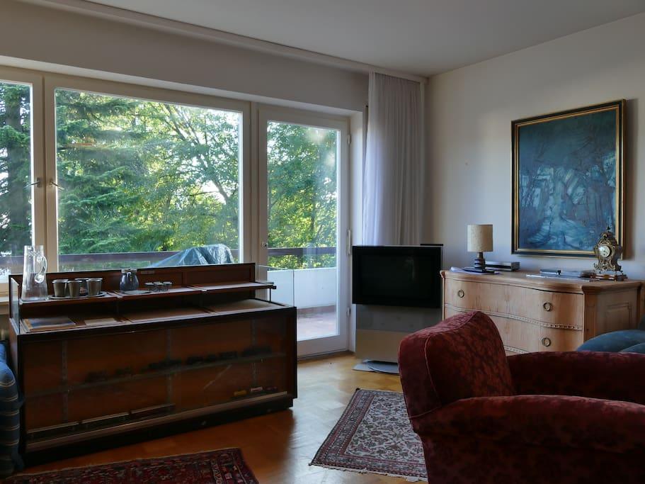 Wohnzimmer mit großer Fensterfront nach Süden