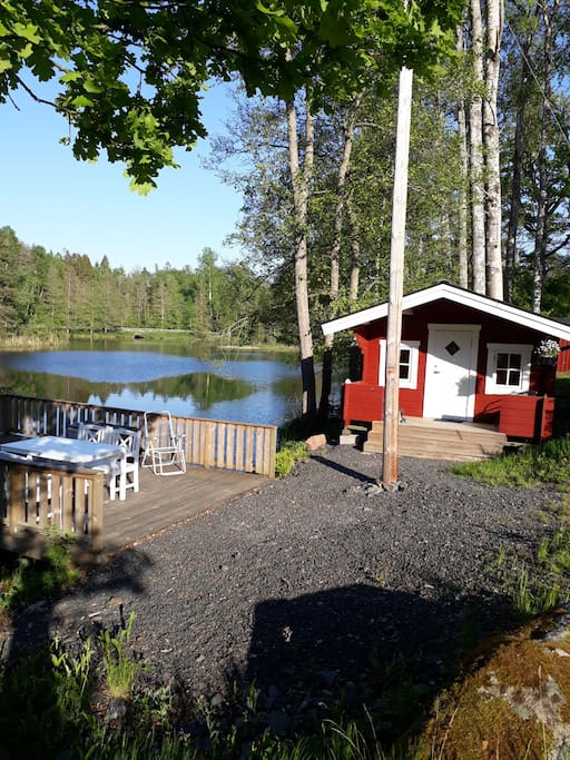 Deck with morning sun. Wood fired sauna with room for six people.