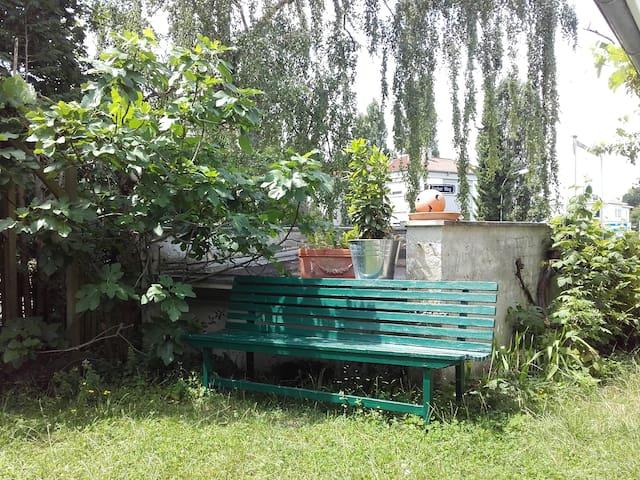 Stadtnah mit grünen Wiesen fast hinterm Haus