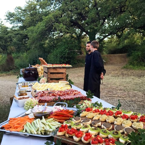 Starter buffet with:   Typical Tuscan crostini, raw organics vegetables served with extra virgin olive oil, traditional Tuscan cold cuts, assortment of cheeses with dried fruit and honey, etc. etc.