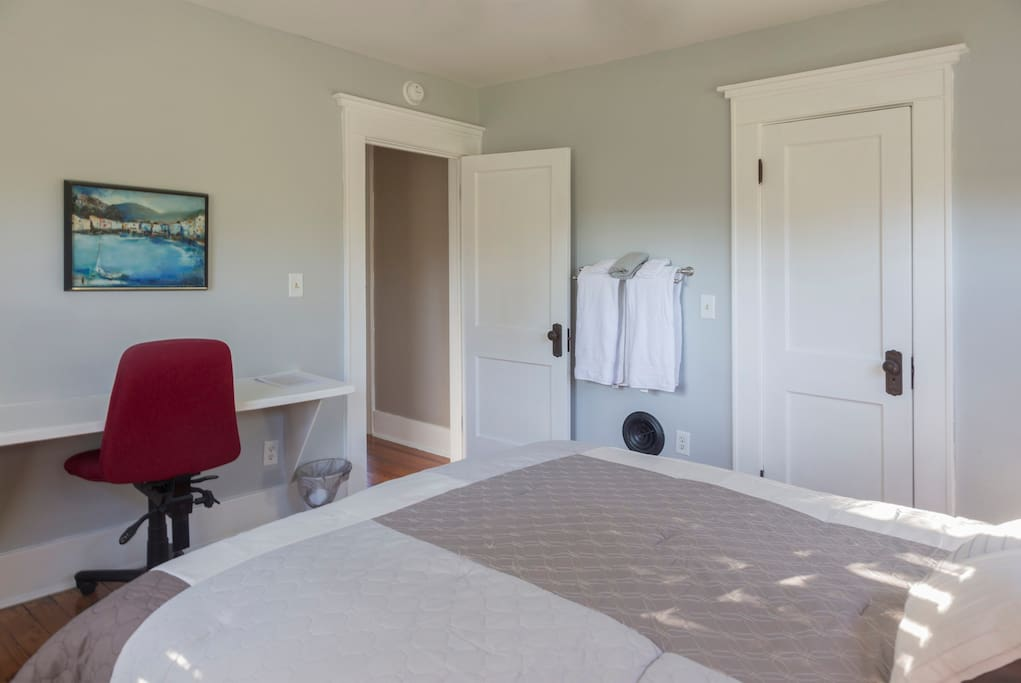 Large closet on right and door to hallway, bathroom and sitting room