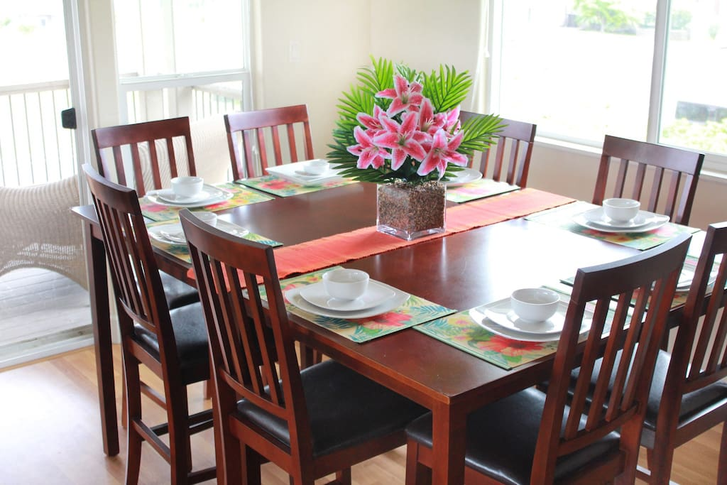Our spacious dining room table.