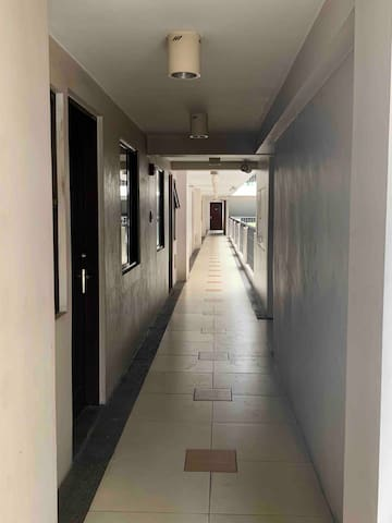 The hallway just 2 units away from the elevator